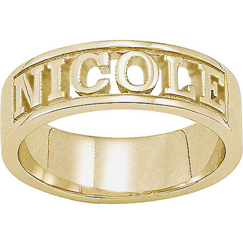 personalized sculpted cut out name ring in 18kt gold