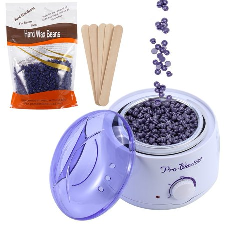 Depilatory cere Kit,Hot Paraffin cere Pot Warmer Heater with 300g Lavender flavor Beans and 5Pcs Applicator Sticks
