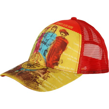 Beatles Men's  Sgt Pepper's Lonely Hearts Club Band Yellow Baseball Cap Yellow](Chili Pepper Hats)