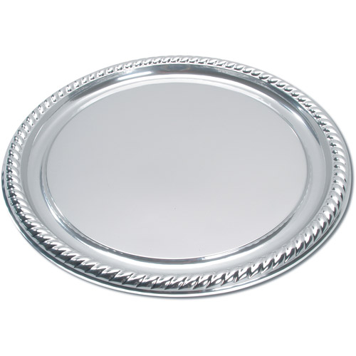 """Silver 16"""" Plastic Party Tray"""