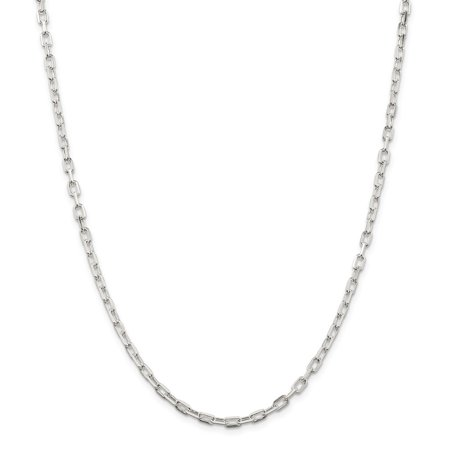Roy Rose Jewelry Sterling Silver 3.5mm Fancy Diamond-cut Open Link Cable Chain 24