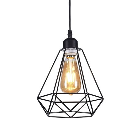 Wideskall 8 Metal Iron Diamond Geometric Mini Pendant Ceiling Light 1 Bulb Lighting Fixture Ul Certificated