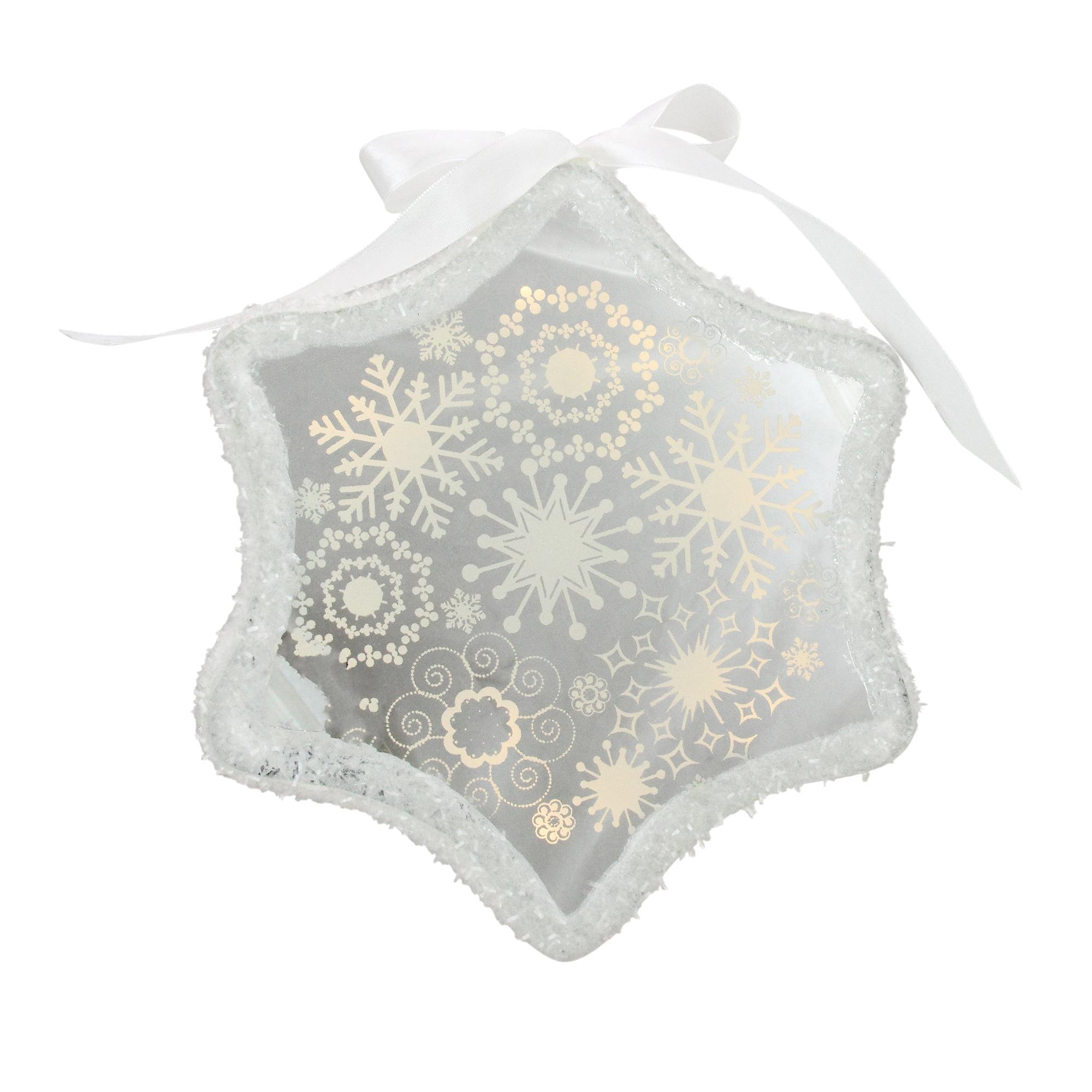 9 Pre Lit Led White Sparkle Snowflake Scene Christmas Snowflake Ornament Walmart Canada