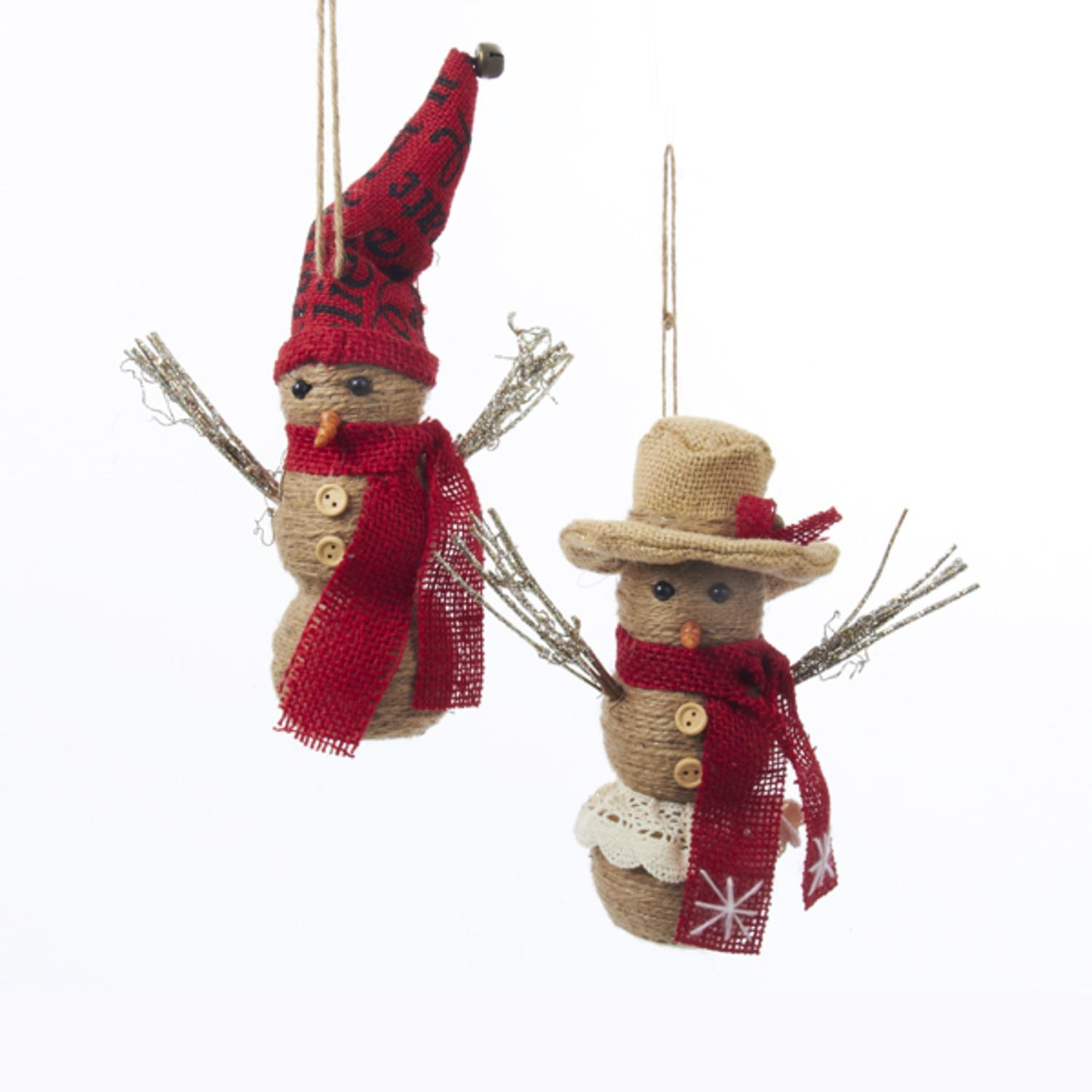 Pack of 6 Country Heritage Burlap Snowman Christmas Figure Ornaments 7.5""