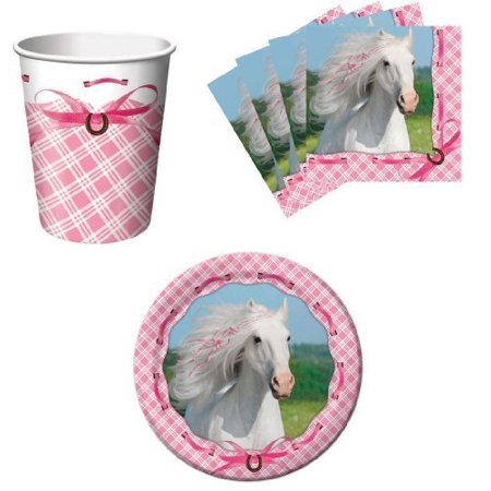 Heart My Horse Pink Birthday Party Supplies Set Plates Napkins Cups Kit for 16 by, (16) 7 Inch (17.7cm) Paper Plates By Paper Art (Make My Plate)