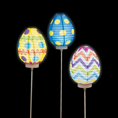 Fun Express - Light Up Paper Egg Lantern for Easter - Party Decor - Hanging Decor - Lanterns - Easter - 3 Pieces ()