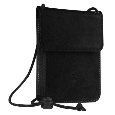 Fintie Passport Holder Neck Pouch [RFID Blocking] Premium PU Leather Travel Wallet, Black