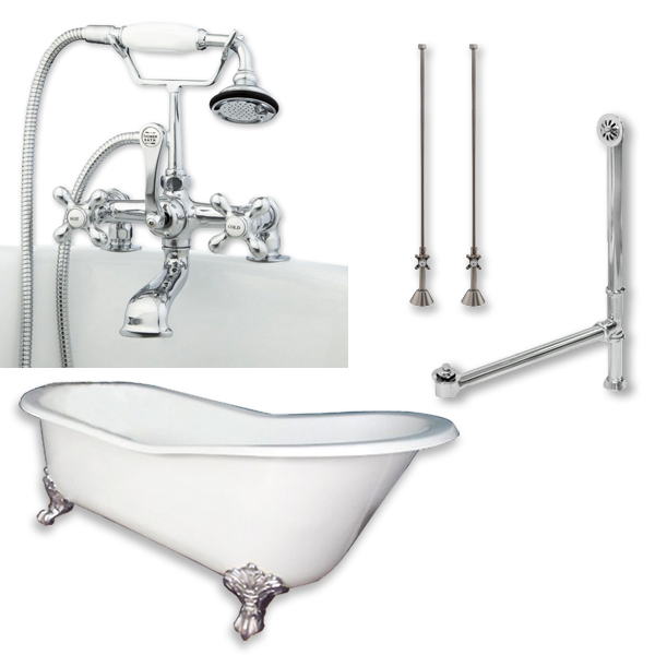 "ST61-463D-2-PKG-CP-7DH Cast Iron Slipper Clawfoot Tub 61 x 30"" with 7"" Deck Mount Faucet Drillings and Complete Polished Chrome Plumbing Package"""
