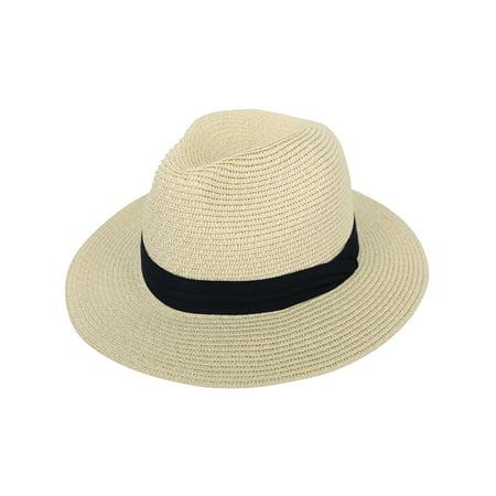 bccc77dda6e1f6 Simplicity - Panama Straw Hat Men Women's Wide Brim Packable Roll up Fedora Beach  Sun Hat,Beige - Walmart.com