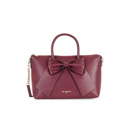 Fara Bow Faux Leather Satchel Bow Cosmetic Bag Handbag