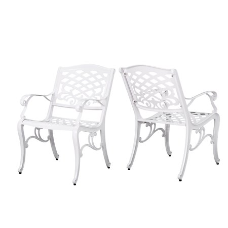 - Brody Outdoor White Cast Aluminum Arm Chair, Set of 2, White