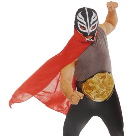 Mens Adult Wrestler Character Kit Halloween Costume Mask Belt & Cape OSFM