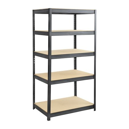 Safco Heavy Duty Boltless Steel Shelving Unit   Floor   72   Height X 36   Width X 24   Depth   5 Tier S    Wood  Steel  Particleboard   Black  6247Bl