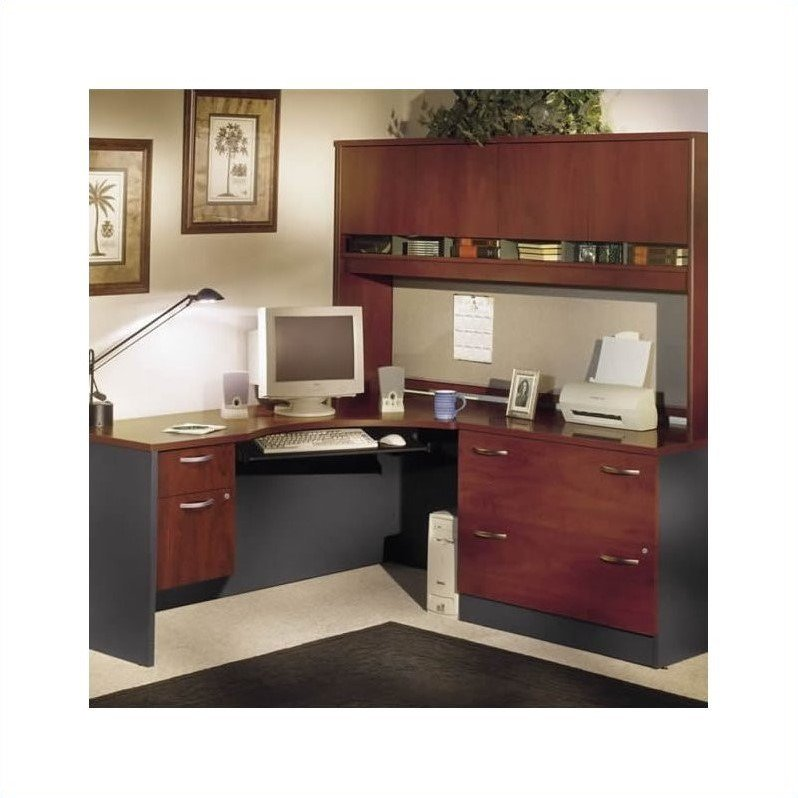 Bush Business L-Shaped Home Office Set with Hutch in Hansen Cherry