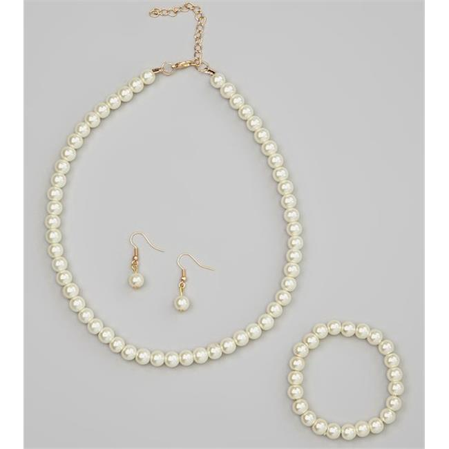 StayWarmInStyle Glass Pearl Necklace, Bracelet & Earrings, Taupe