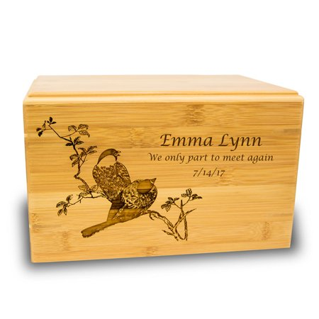 Bamboo Box Cremation Urn - Large 200 Pounds -  Brown Spring Birds - Custom Engraving Included