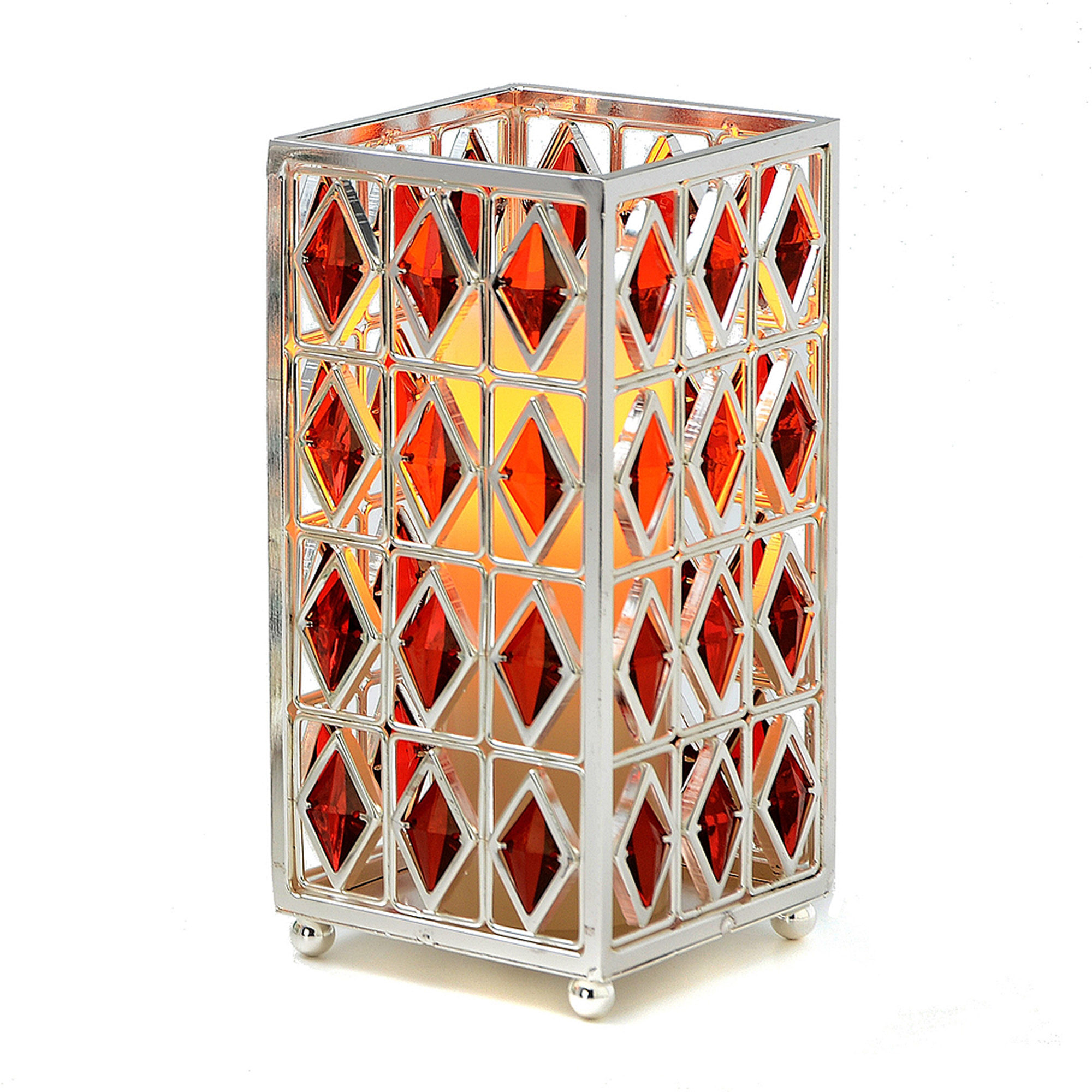 "7"" Jewel Hurricane with Flameless Candle and Timer, Red"
