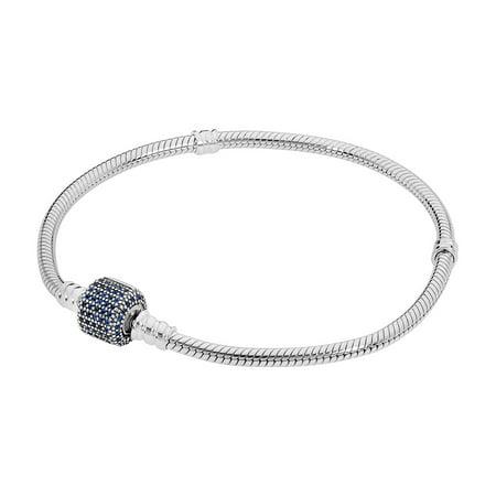 Sterling Silver Moments Bracelet w/Royal-Blue Crystal Pave Cl Bracelet 20 cm 590723NCB-20