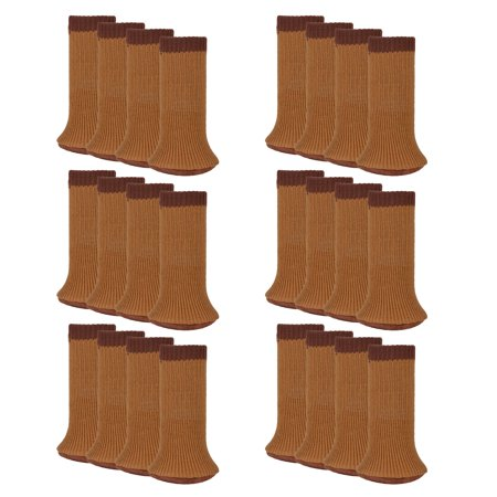24pcs Chair Socks Set Anti Skid Wool Knitted Leg Floor Protectors Furniture Covers Table Pads With Thick Bottom Coffee Black