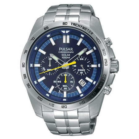 Pulsar PZ5001 Men's On The Go Solar Blue Dial Steel Bracelet Chronograph Power Reserve Watch