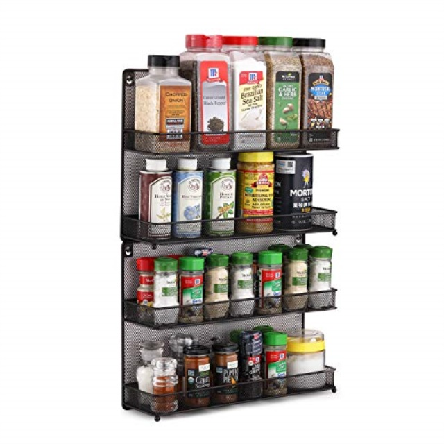 CAXXA 2 PK 2 Tier Mesh Kitchen Counter-top or Wall Mount Spice Rack Jars Storage