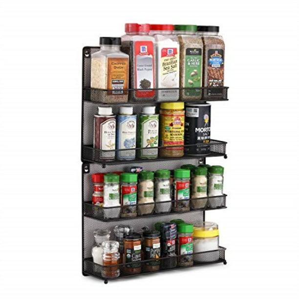 CAXXA 2 PK 2 Tier Mesh Kitchen Counter-top or Wall Mount Spice Rack Jars Storage