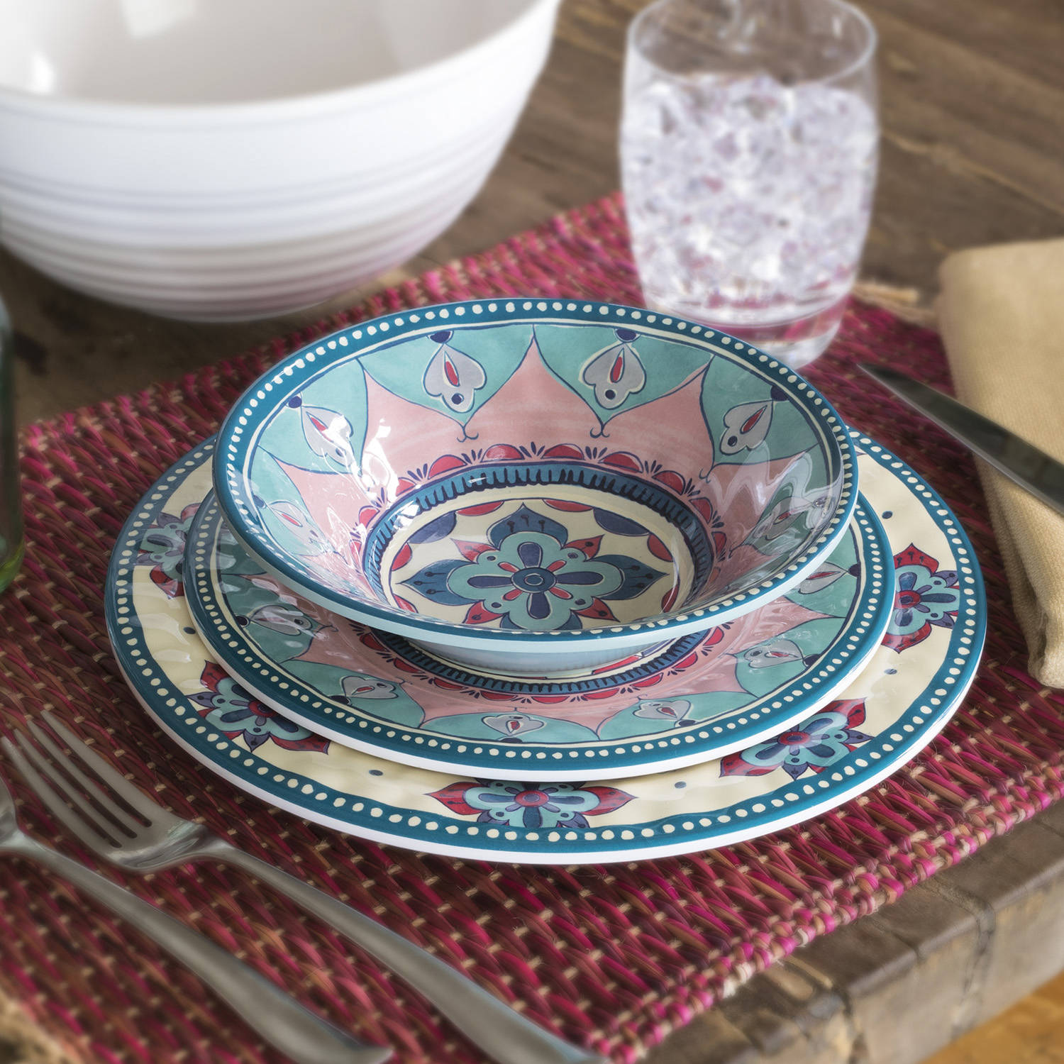 Wondrous Better Homes Gardens 12 Piece Boho Dinnerware Set Download Free Architecture Designs Lukepmadebymaigaardcom