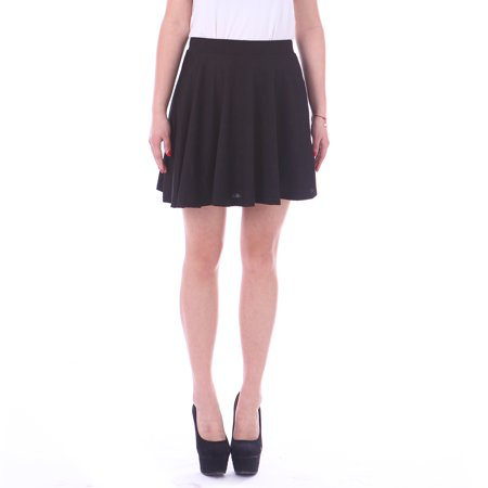 HDE Women's Jersey Knit Flare A Line Pleated Circle Skater Skirt (Black, -