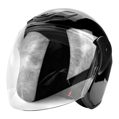 3/4 Open Face Motorcycle Helmet DOT with Flip Up Face Shield Gloss Black
