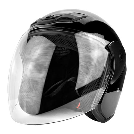 3/4 Open Face Motorcycle Helmet DOT with Flip Up Face Shield Gloss