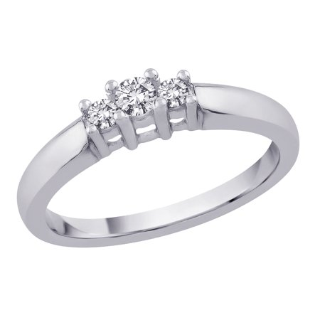 3 Diamond Anniversary Band 1/4 ct. in 14K White Gold (Best, G-H Color, SI2-I1 (Best Color Clarity For A Diamond)