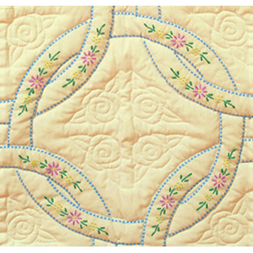 "Stamped Ecru Quilt Blocks, 18"" x 18"", 6pk, Interlocking Wedding Rings"
