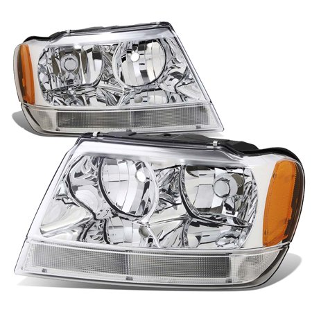 02 Jeep Liberty Headlight - For 99-04 Jeep Grand Cherokee Headlight Lamps With Amber Reflector Kit (Chrome Housing) - WJ 00 01 02 03