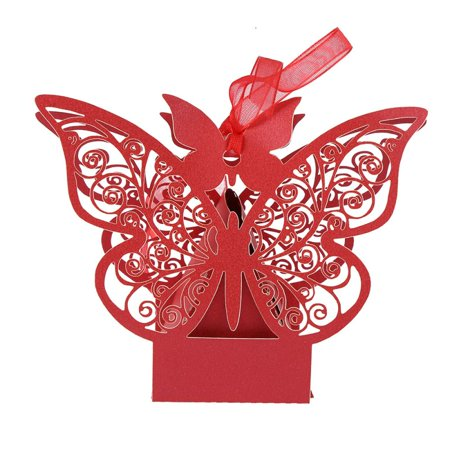 Inexpensive Bridal Shower Gifts (10Pcs Butterfly Wedding Favor Boxes Candy Favor Case Party Gift Wrap Bags for Bridal Shower)