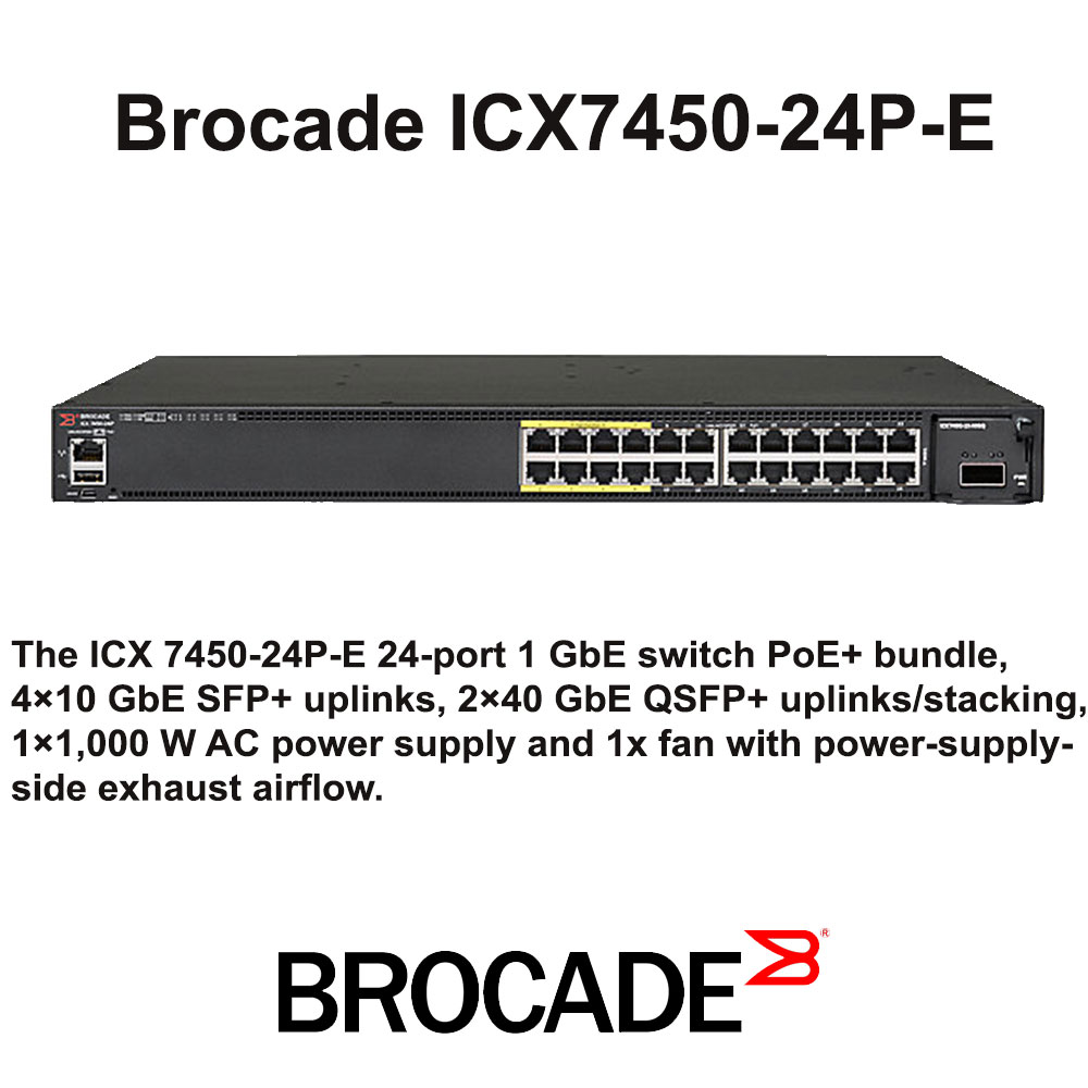 Brocade ICX 7450-24P - Switch - L3 - managed - 24 x 10/100/1000 (PoE+) + 4 x 10