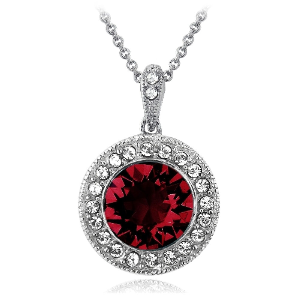 Silver Tone Red & Clear Crystal Halo Necklace with Swarovski Elements
