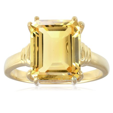 18KT Yellow Gold Over Sterling Silver Your Choice of Gemstone Solitaire Ring.