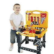 Toy Choi?s Pretend Play Series Standard Workbench Toy Tool Play Set, 82 Pieces Construction Work Shop Toy Tool Kit Bench Outdoor Travel Preschool Toy Gift for Kids Toddler Baby Children Boys and Girls