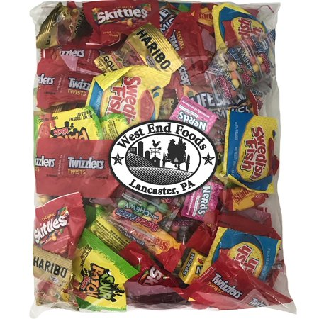 Bulk Variety Treat Bag (48oz) of Lifesavers Gummies, Nerds, Skittles, Sour Patch Kids, Starburst, Swedish fish, Twizzlers, Haribo Gummies Bears for Kids Lunch Box