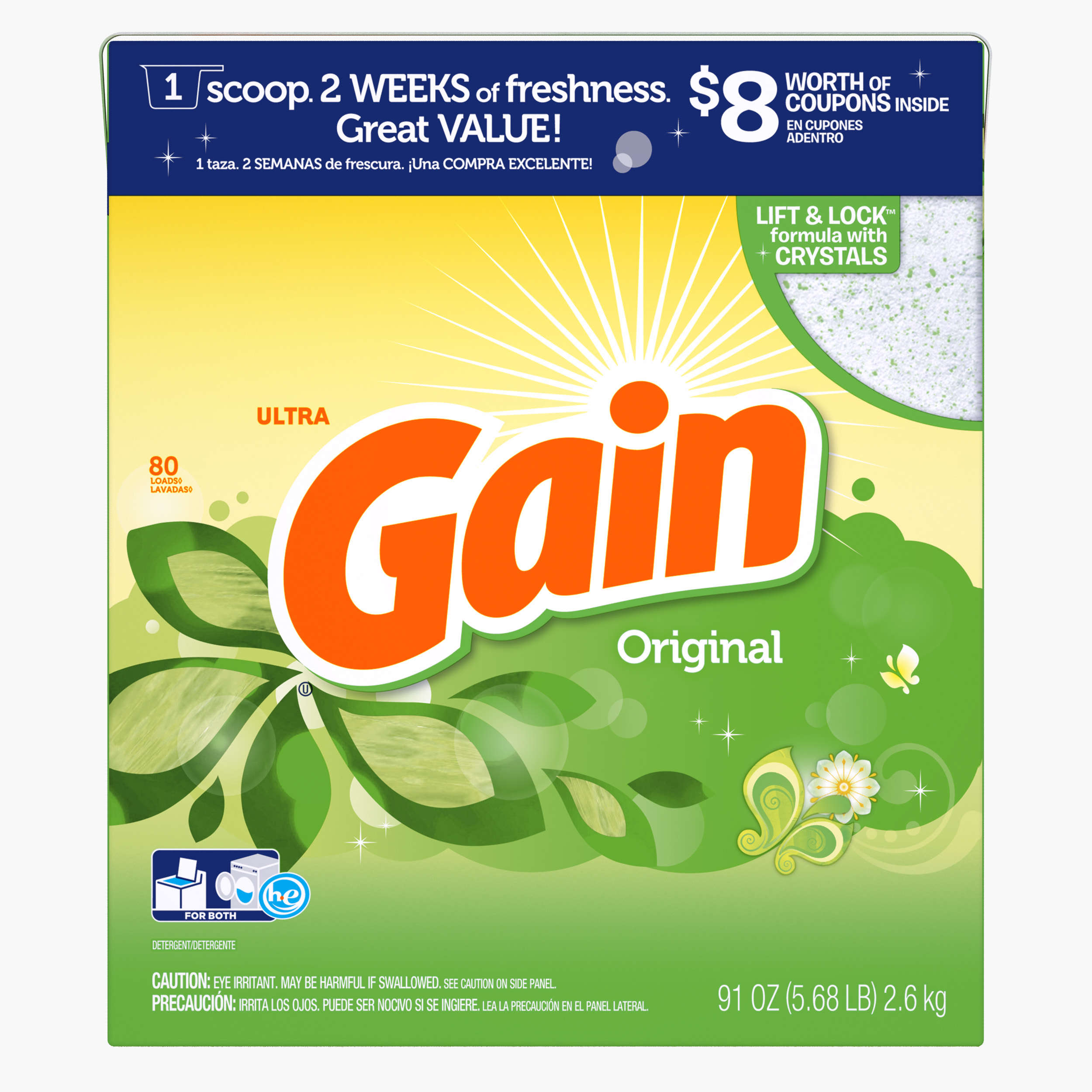 Gain Powder Laundry Detergent, Original Scent, 80 loads, 91oz