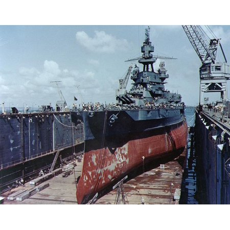 Base Sectional (Canvas Print The U.S. Navy battleship USS Pennsylvania (BB-38) drydocked in an Advanced Base Sectional Dock (ABSD Stretched Canvas 10 x 14 )