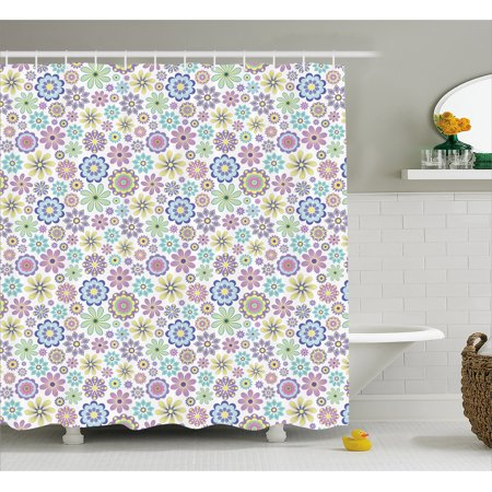 Pastel Shower Curtain Cute Ornate Different Kinds Of Flowers Colorful Flourish Vintage Field Meadow Yard Fabric Bathroom Set With Hooks Multicolor