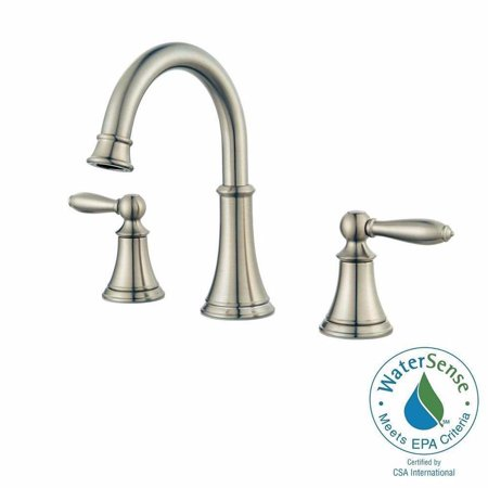 Pfister LF-049-COKK Courant 8 in. Widespread 2-Handle Bathroom Faucet in Brushed Nickel (White Handle Bathroom Faucet)