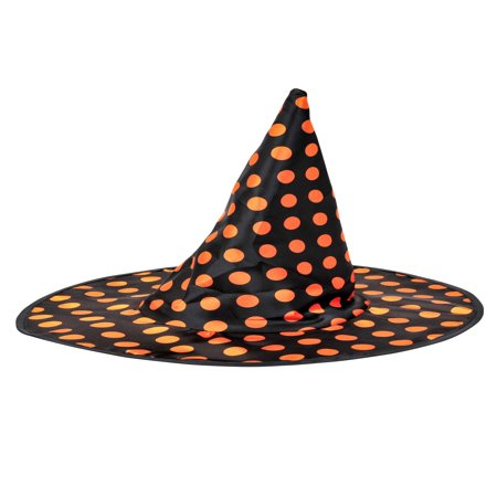 Halloween Polka Dot Pointy Witch Costume Hat, Black Orange, One-Size 15