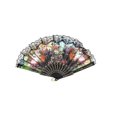 Wedding Party D Ring Decor Plastic Rib Floral Print Folding Hand Fan Black](Plastic Hand Fan)