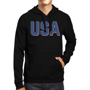 USA With Stars Unisex Black Hoodie 4th Of July Cute Design Hoodie