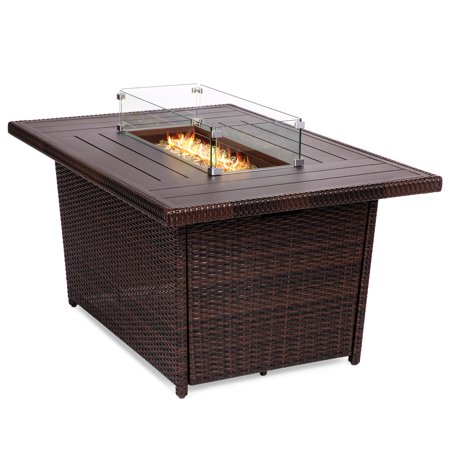 Best Choice Products 52in Outdoor Wicker Propane Gas Fire Pit Table for Patio, 50,000 BTU w/ Aluminum Tabletop, Glass Wind Guard, Clear Glass Rocks, Cover, Slide Out Tank Holder, Lid - (Best Outdoor Propane Fire Pit)