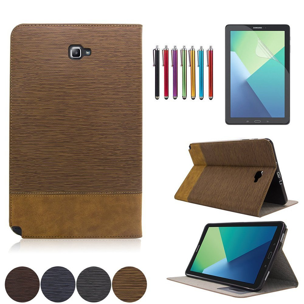 Mignova Samsung Galaxy Tab A 10.1 with S Pen Case - Slim Smart Stand Cover with Auto Sleep/Wake for Galaxy Tab A 10.1 inch Tablet with S Pen SM-P580+ Screen Protector Film and Stylus Pen (Brown)