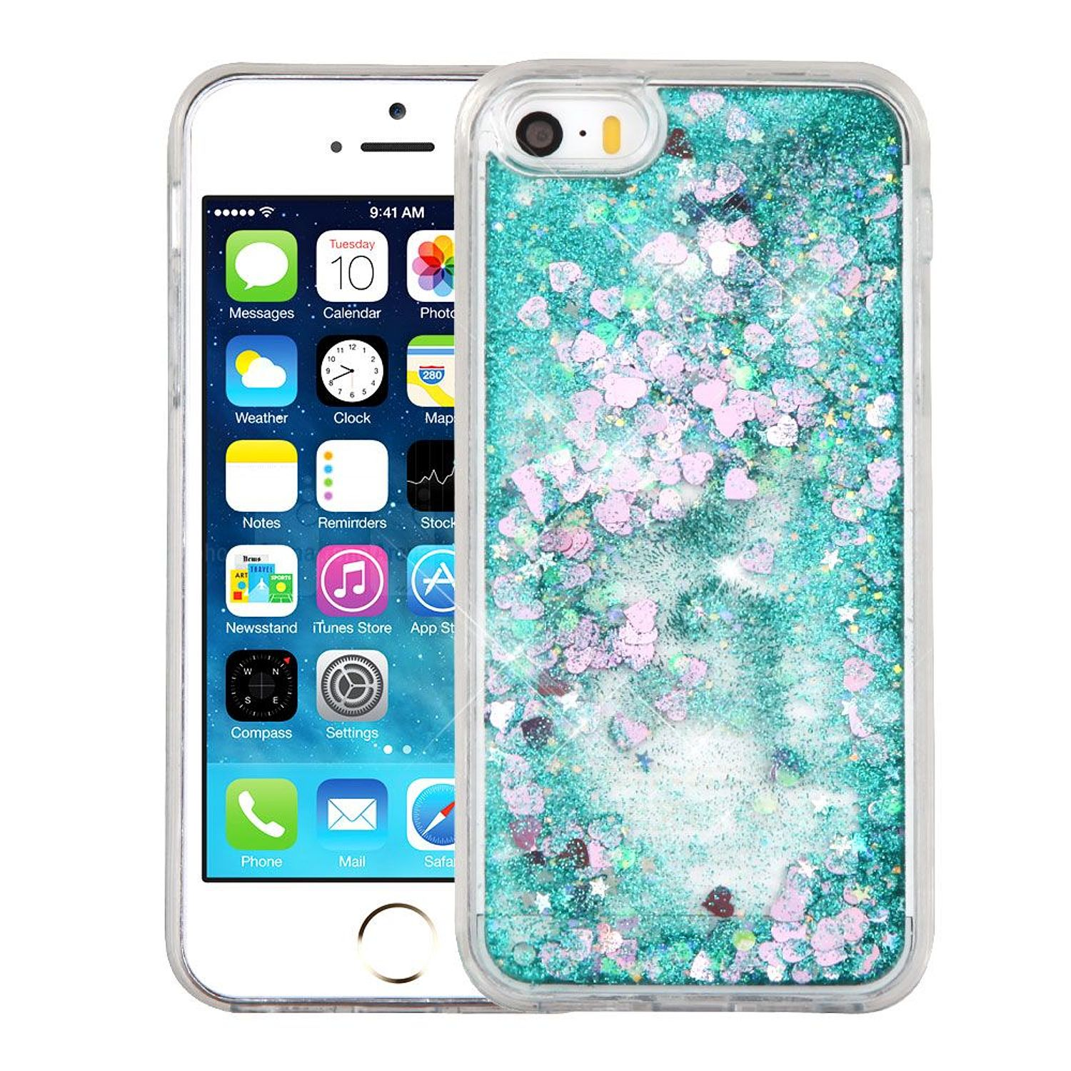 iPhone SE Case, iPhone 5S Case, by Insten Hearts Green Quicksand Glitter Hybrid Hard/TPU Protective Case Cover For Apple iPhone SE / 5 / 5S