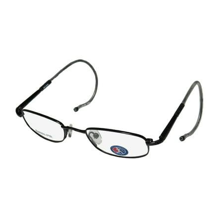 New Little League Baseball Bruiser Unisex/Boys/Girls/Kids Designer Full-Rim Black Stainless Steel Trendy Frame Demo Lenses 45-19-135 Spring Hinges (Latest Trendy Spectacle Frames)